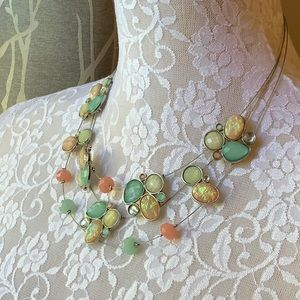 Pastel Multi Strand Statement Necklace